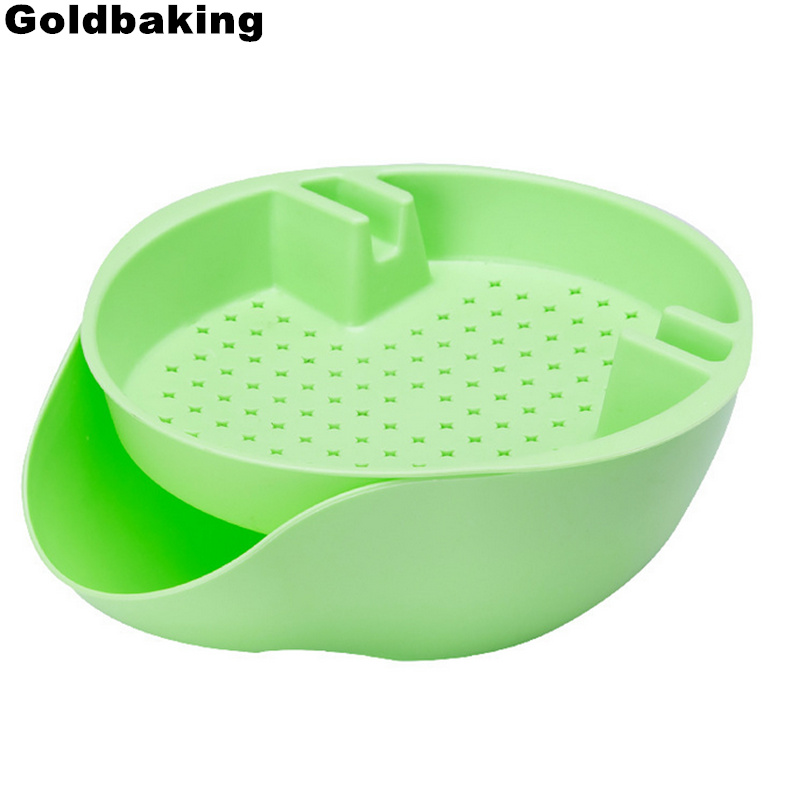 Goldbaking Double Layers Fruit Plate Lazy Snaks Tray Nut Bowl With Cell Phone Holder Slot Snack Serving Tray With Shell Storage