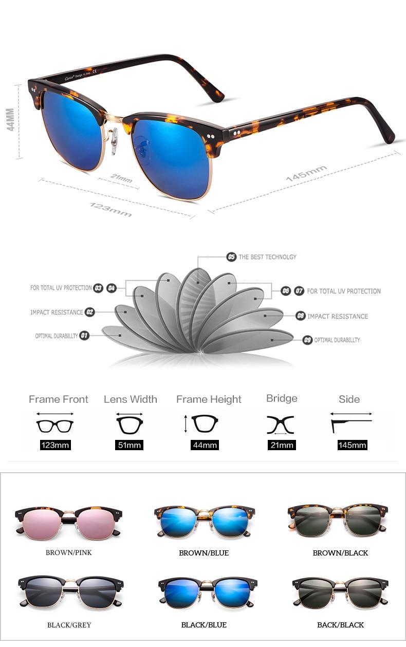 a5cb67757 Carfia 2018 Tons Rebite Das Mulheres Dos Homens Polarizados óculos de Sol  Do Vintage Clássico Retro Marca Designer Sem Aro óculos de Sol 100% UV400