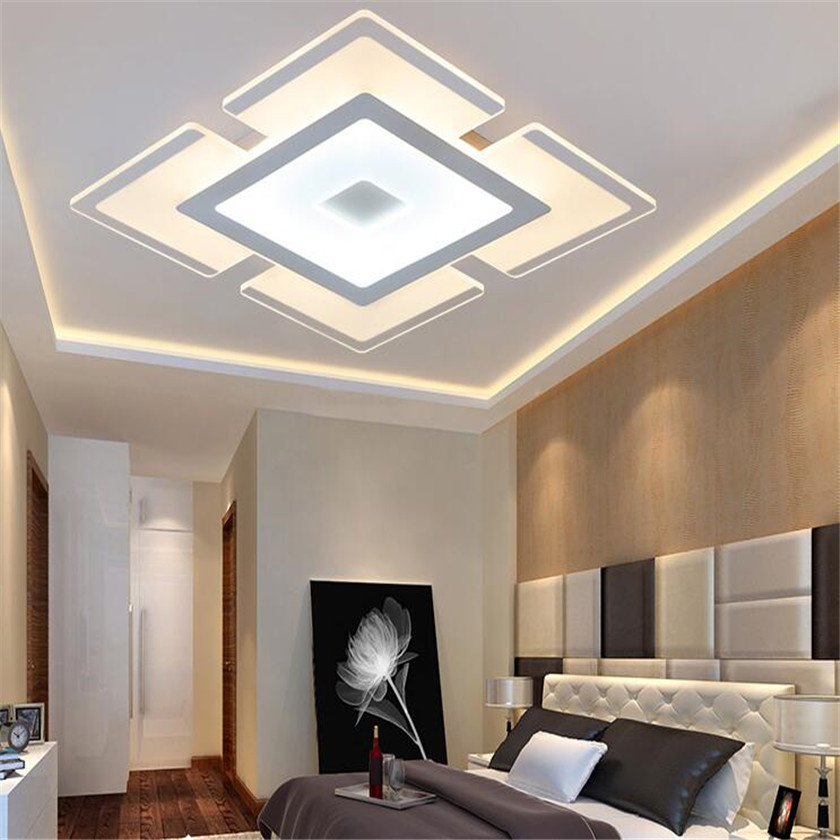Nordic Dimming remote Ceiling Lights For Home acrylic square Led  Modern Ceiling Lamp Luminaire Lustre ultrathin light fixtures 3 head acrylic shade kids room wooden children ceiling lights led e27 bulb 110v 220v led ceiling light fixtures lustre luminaire