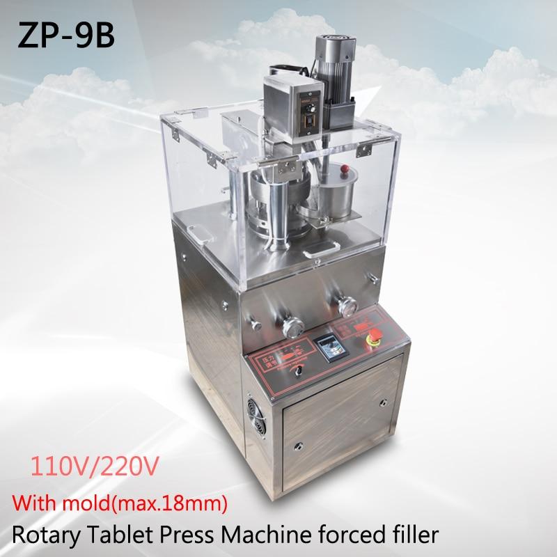 Rotacinis planšetinis presas ZP-9B Enhanced pridėti priverstinio užpildymo tabletę mašina vaistas tabletė mašina + tabelt spaudimo die (max.18mm)