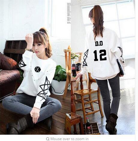 Hoodie kpop kpop exo exo clothing autumn long sleeve white men and Korean women coat clothing couple hooded shirt Outerwears Одежда