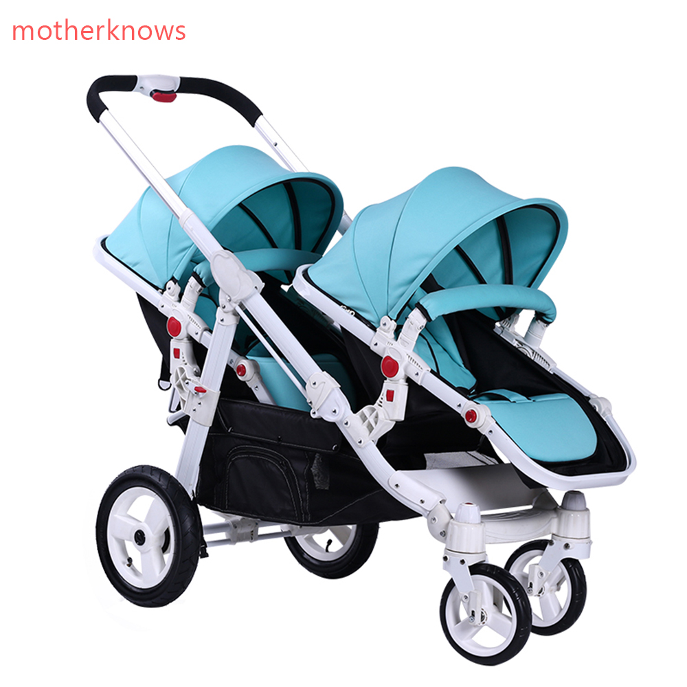 Motherknows brand baby Export twins stroller baby strollers 0-4 years baby use suspension wheels folding light baby twin pram big space twins prams for children 0 4 years baby carrinho for twin with all cover sun canopy oxford fabric twin baby carrier