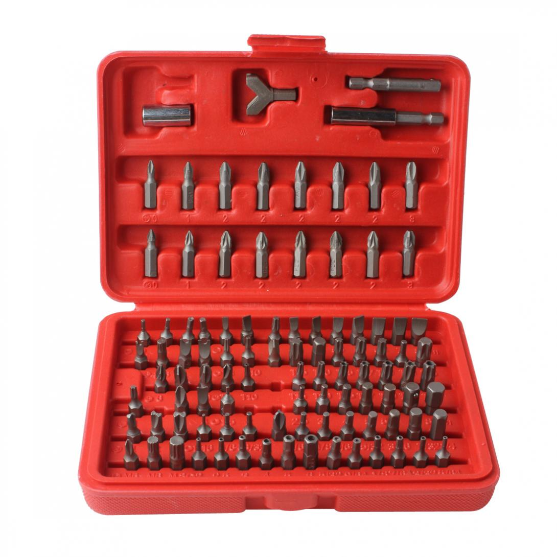 Chrome Vanadium 100pcs CR-V Steel Security Screwdriver Tamperproof Torx Hex Bit Set W/ Case