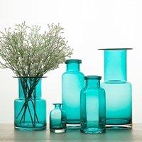 Home Decor Glass Vases Blue Flower Vase Christmas Decoration Modern Vases Decorative Retro Small Ornaments Flat Vase Zakka Style