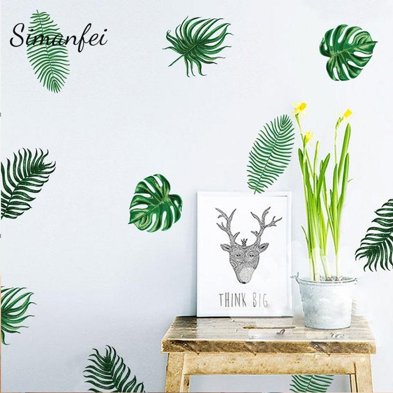 Aliexpress Buy Simanfei Palm Leaves Wall Stickers