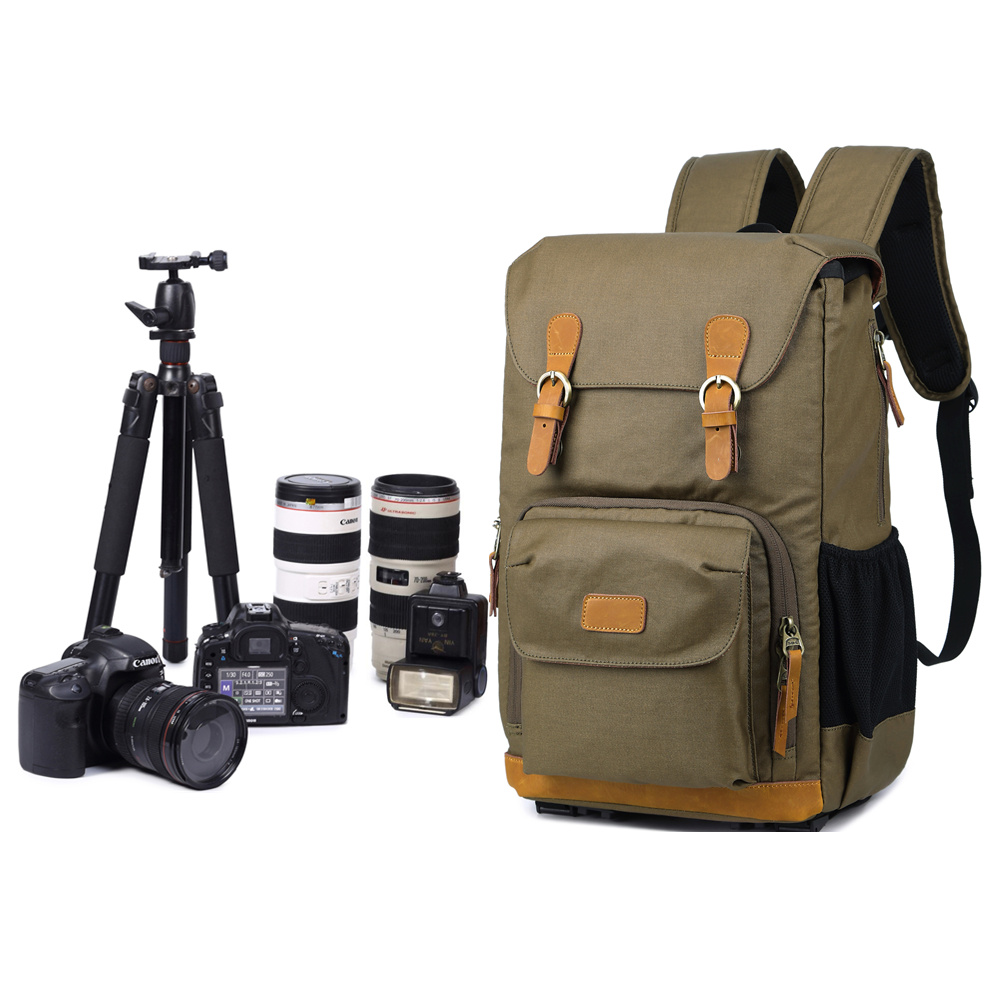 Chic Canvas Camera Backpack Professional Outdoor Photographer Large Capacity Photo Bag With Tripod Holder For DSLR