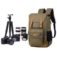 シックなキャンバスカメラバックパック専門の屋外写真家大容量のフォトバッグ三脚ホルダー用ギアとレンズ -