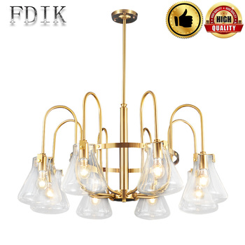 DINGDIAN LED Creative רטרו נחושת נברשות E27 220V זכוכית אהיל קיר דקורטיבי מנורת מסעדת קפה סלון