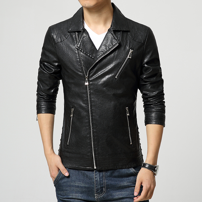 Fit Jackets Men Slim Leather For In Sloping Pu Zippered fgYvyb76