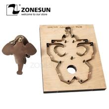 ZONESUN DIY Japan Stahl Klinge Regel Stahl Stanzen Mould Messer Werkzeug Elefanten Schlüssel Ring Leder Punch Sterben Holz Vorlage maschine