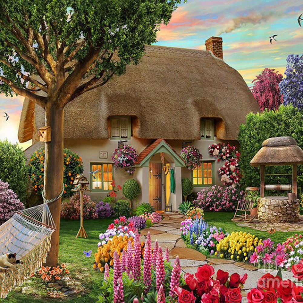 DIY 5D Diamond Painting Scenic Garden House Cross Stitch Kit Rhinestone Ribbon Embroidery Landscape Crafts Home Decor