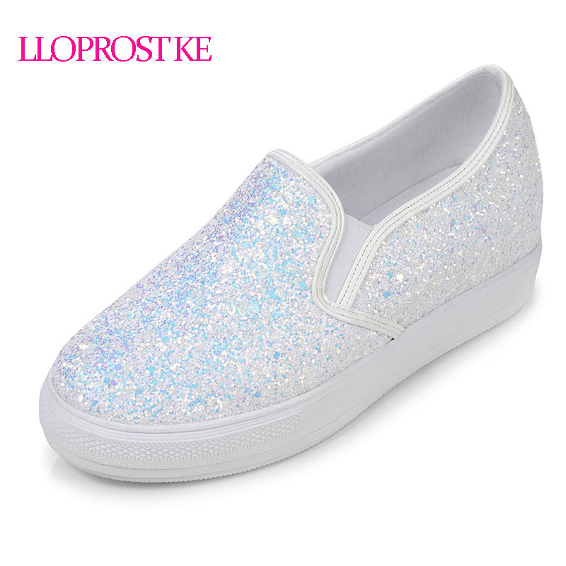 цены LLOPROST KE Bling PU leather Shoes Woman Slip-on Casual Ladies Loafers Fashion Glitter Flats Platform Plus Size 30-44 dxj1931