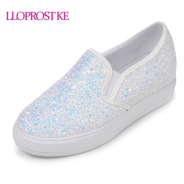 e81bed636b21 LLOPROST KE Bling pu-leder Schuhe Frau Slip-on Casual Damen Loafers Mode  Glitter