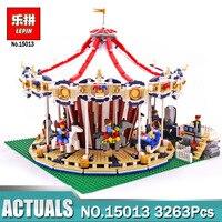 Лепин 15013 город улица карусель модель с Мощность Функция здания Наборы блоки, совместимые с LegoINGlys 10196 модель для детей