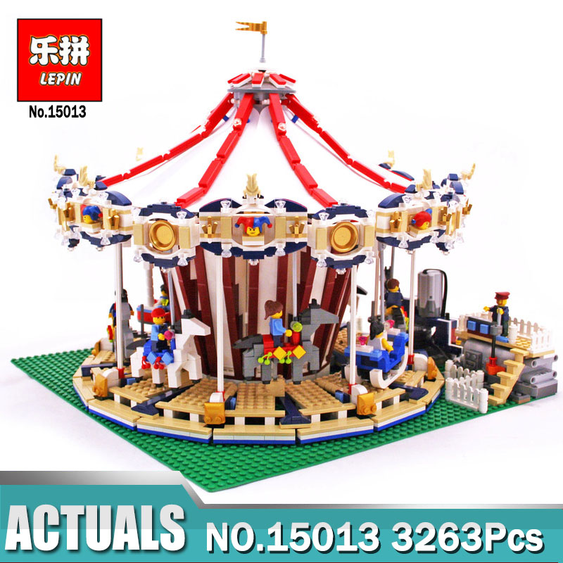 Lepin 15013 City Street Carousel Model with Power Function Building Kits Blocks compatible with LegoINGlys 10196 Model for Kids lepin 15013 city street carousel model building kits assembling blocks toy legoing 10196 educational merry go round gifts