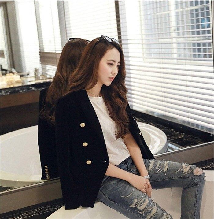 2016 New Spring Fashion Women Midnight Navy Slim Velvet Blazer Jacket Double Breasted simple Lady Blazers  (25)