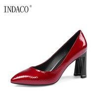 Bordo Siyah Deri Bayan Ayakkabı Topuklu Yüksek Topuk Sığ Sivri 8 cm Escarpins Deri kayma Pompaları Femme 2018 34-43 INDACO