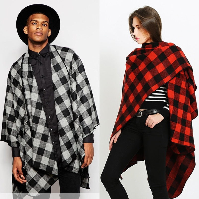 Gothic Stylish Men Tassels Cape Slit Coat Punk Cloak Outwear BOHO Style Scarf Maxi Street Womens Unisex Plaid Luxury