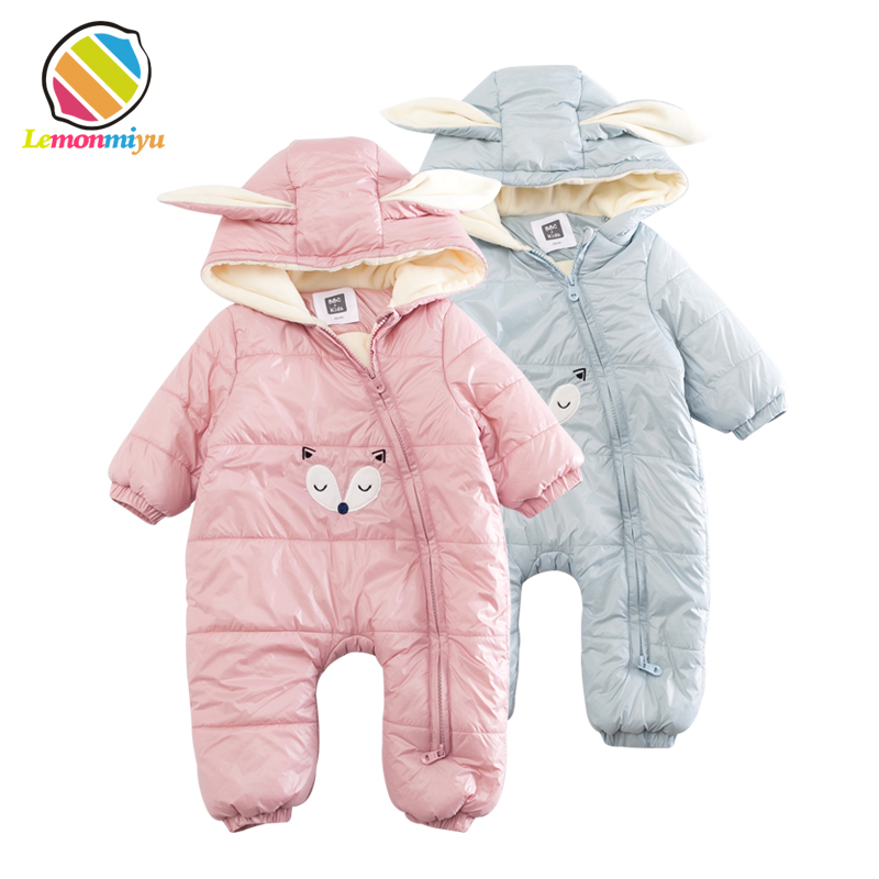 Lemonmiyu Baby Winter Warm Rompers Cartoon Zipper Full Thicken Infants Outwear Rabbit Hooded Plus Velvet Kids Cotton Jumpsuits 2016 winter new soft bottom solid color baby shoes for little boys and girls plus velvet warm baby toddler shoes free shipping