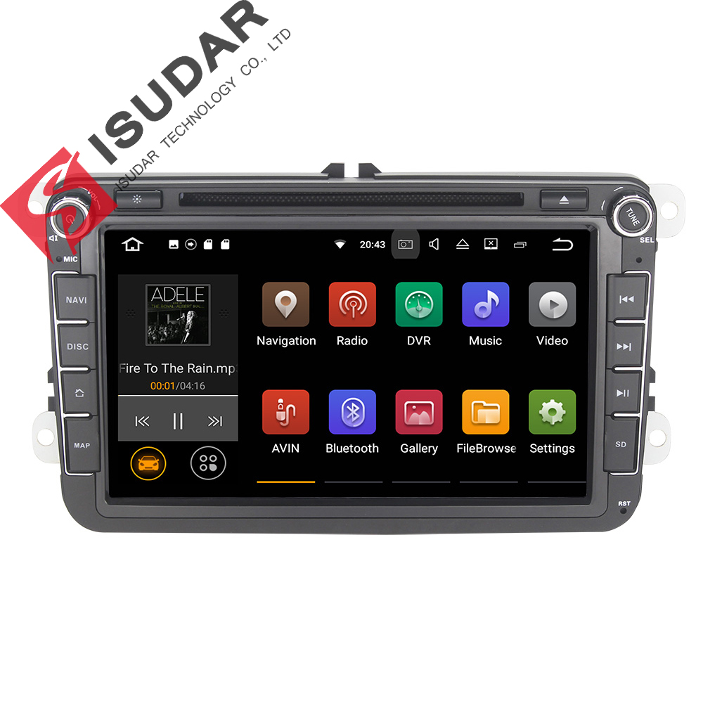 цена на Android 7.1  8 Inch Car DVD Player For VW/Volkswagen/POLO/PASSAT/Golf/TOURAN/SHARAN Quad Core Wifi 3G USB GPS Navigation Radio