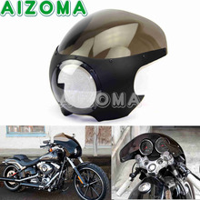 "Fumaça 5 3/4 ""Cortar Farol Carenagem Motocicletas Cafe Racer 5.75"" Head Light Windscreen Cowl Defletor Para Harley chopper"