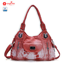 Angelkiss Casual Women PU Handbag Soft Roomy Multiple Pockets Street Ladies Shoulder Bag AK812-2Z цены