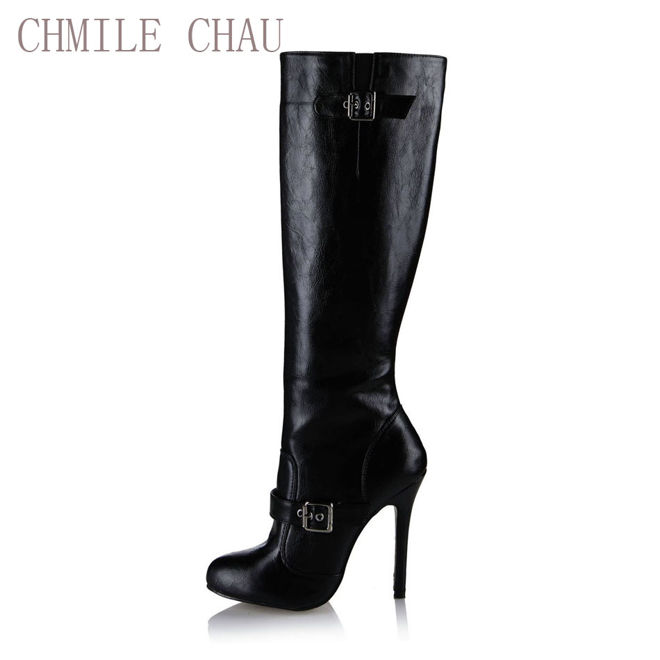 CHMILE CHAU Black Sexy Party Shoes Women Stiletto High Heels Buckle Ladies Knee-High Boots Zapatos Mujer Plus Size 0640CBT-5a e05 1 sheet my kawaii friends decorative adhesive stickers diy scrapbooking sticker stick label decor stationery kids gift