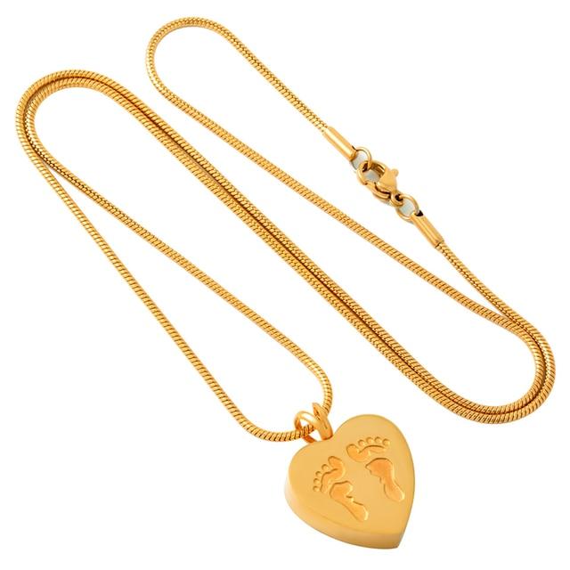 Golden Footprints in Heart Memorial Necklace