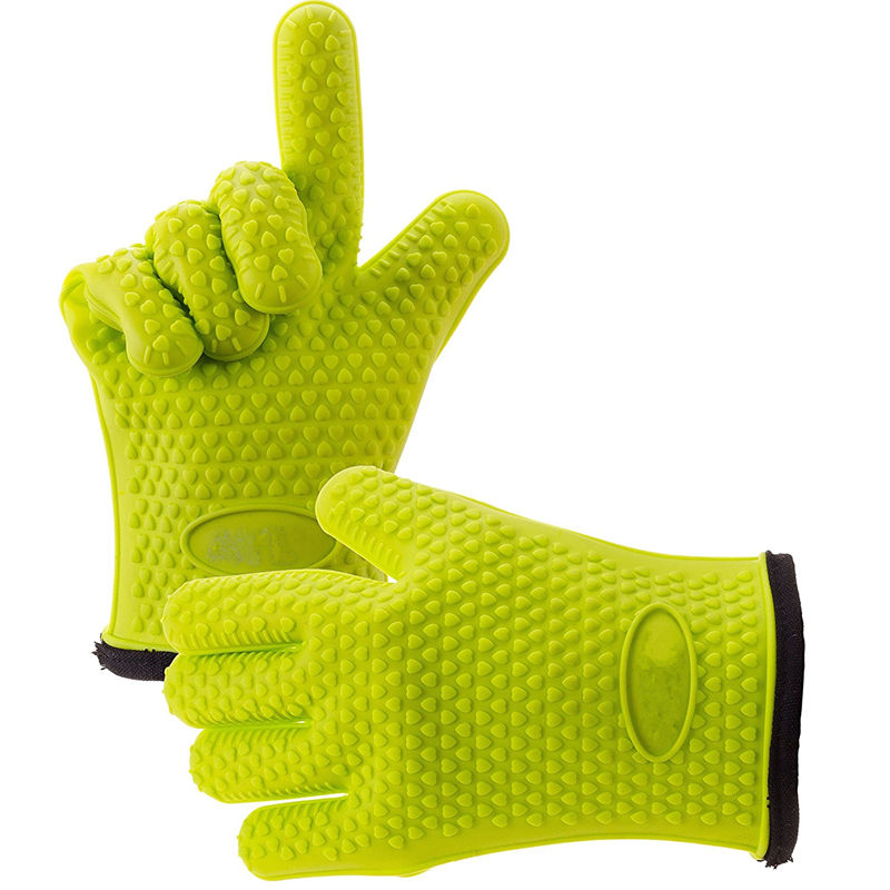 1 Pair Silicone Oven Mitt Glove With Internal Protective Cotton Layer For Grilling 1
