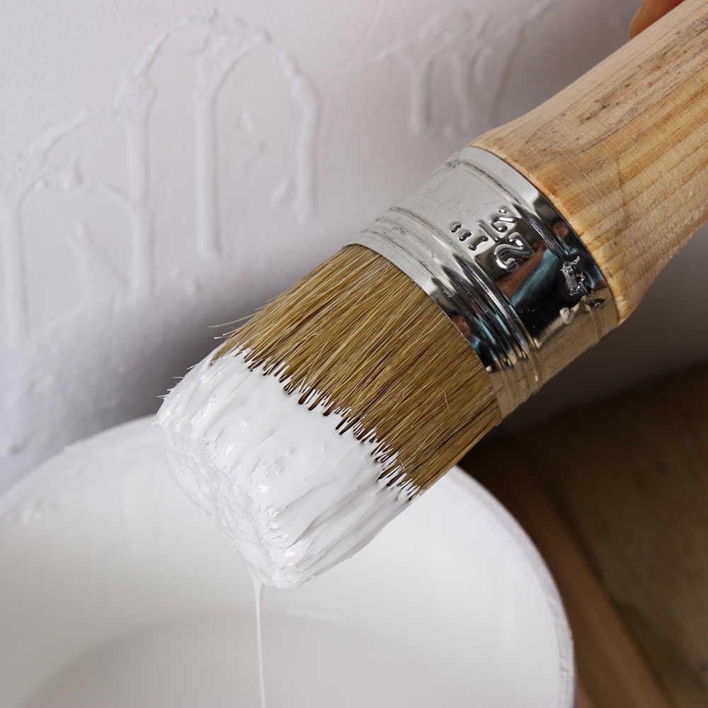 1PC สีชอล์กแปรงขี้ผึ้งสำหรับภาพวาดหรือแว็กซ์เฟอร์นิเจอร์ Stencils ศิลปะพื้นบ้าน Home Decor ไม้แปรงขนแปรงธรรมชาติ