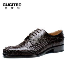 Goodyear handmade for Crocodile skin leather men's genuine leather business formal male cowhide lacing shoes at the end of цены онлайн