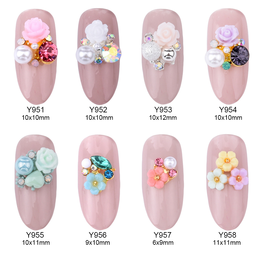 10pcs Alloy 3d Nail Art Rose Flowers Jewelry Nails Crystal
