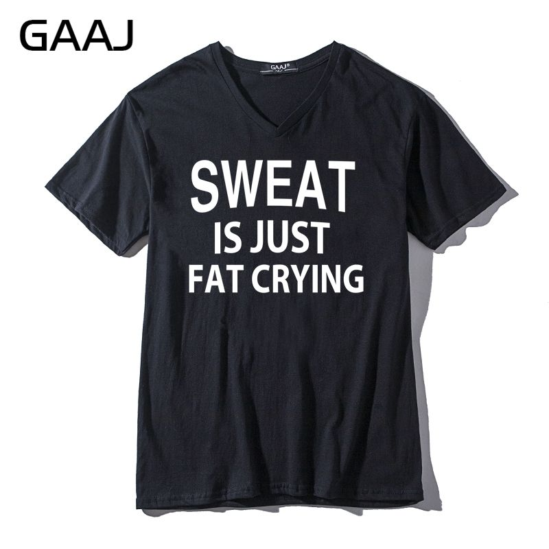 c16dac09 sweat is just fat crying Men & Women Unisex T Shirts New V Neck Tees Funny  Print Letter T shirt Male Clothes Tee Tshirt-in T-Shirts from Men's Clothing  on ...