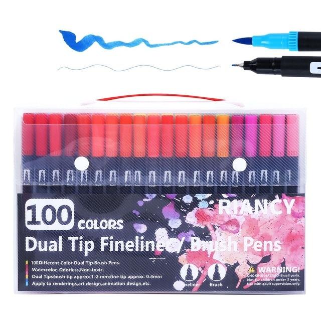 100 Colors Fineliner Art Marker Pen Graffiti Stiften Dual Tip Brush Watercolor for Kids Drawing Painting Gen Manga Anime Pencils