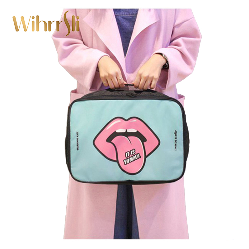 Large capacity Women's cosmetic bag Travel Necessary Organizer makeup bag Beauty Case Storage Can be placed on top of a suitcase image