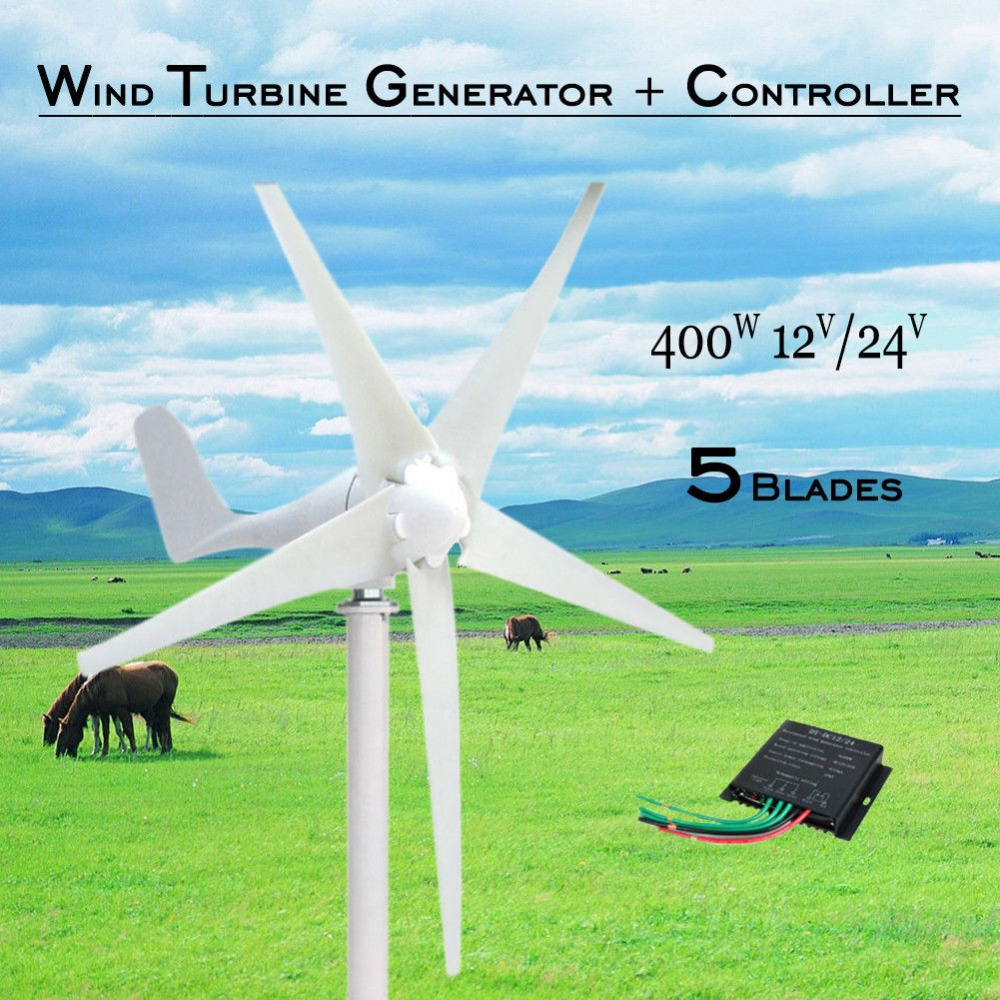Wind Turbine Generator 400W 24V 5 blades horizontal Wind Turbine Generator kit + controller mini free energy generator wind generator 400w rated 400w wind turbine generator 12v 24v wind generation hybrid controller off grid inverter 600w