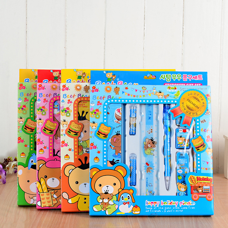 Pupil Stationery Set Package Kindergarten Birthday Gift Prize Nine 9 Pieces Of Factory Direct Sales factory direct sales stationery painted time series of neutral gel pen 0 35mm agpa1502 spot 15pcs set
