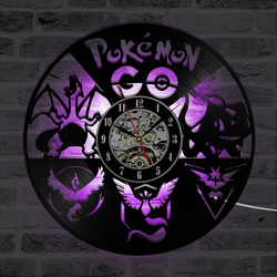 Cartoon Pokemon Retro CD Vinyl Record Clock Pokeball Room Decor LED Wall Clock Black Hollow Classic Hanging Wall Watch