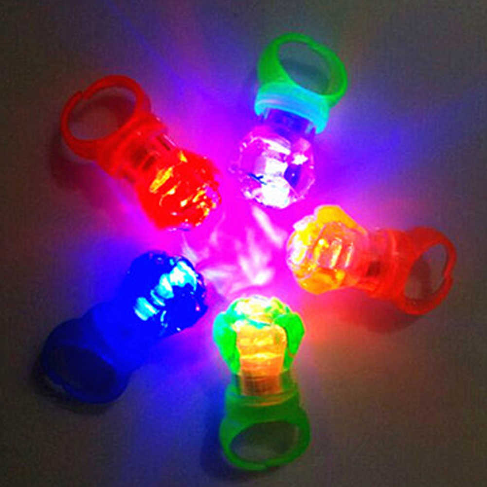 Kids Cartoon LED Finger Ring Flashing Light Up Glowing Electronic Halloween Fun Toys Ring Gifts for Children
