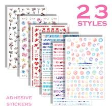 Self-sticking Nail Art Sticker Mixes Shape Colorful Flower Bear Rabbit Cute Design Nail Sticker Decoration Press on Nails NBF rabbit design door sticker