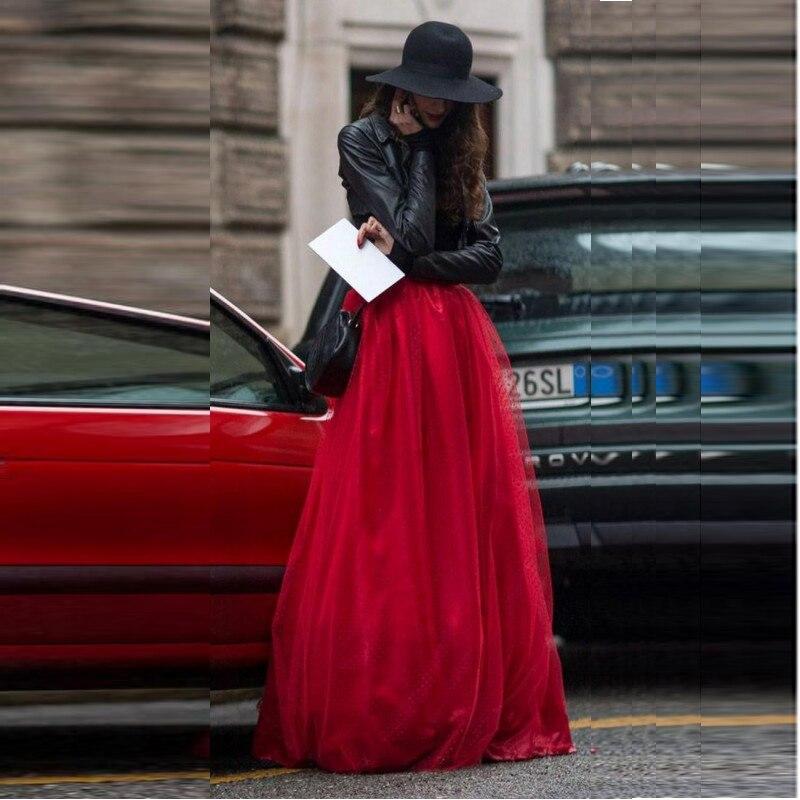 Mulher Longa Saia de Tule 2016 Nova Moda Uma Linha Drapeado Vermelho vestidos Para Mulher Toda A Temporada de Alta Qualidade Barato Saia de Tule