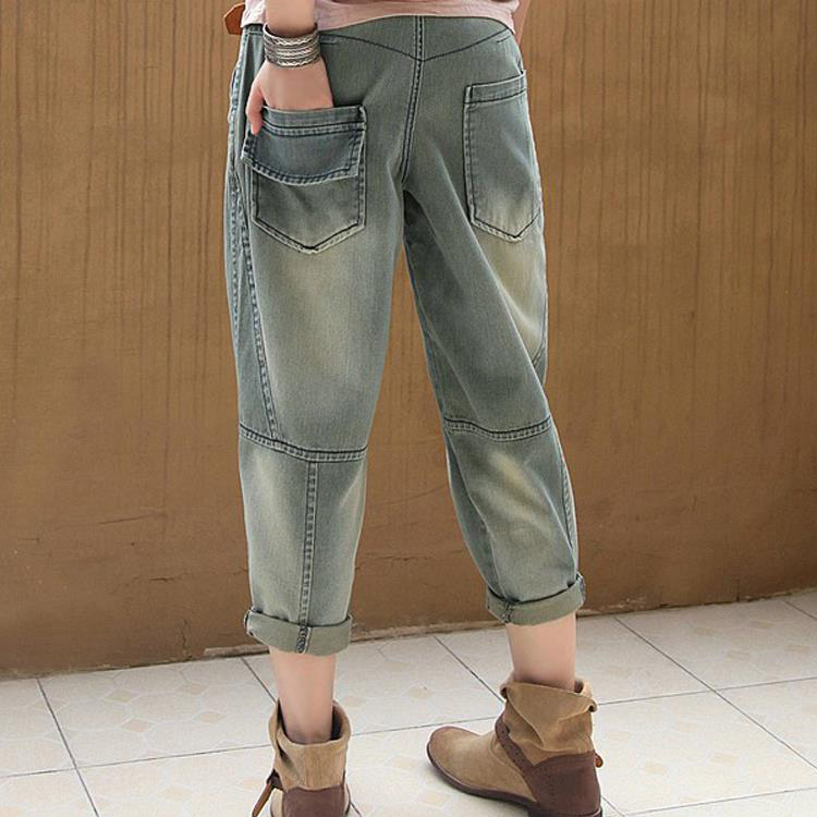 Mujer 2019 Nuevo Harem De Y85 Algodón Vintage Mediados Denim Moda Jeans Harem Pantalones Azul Cintura Casual TTqrvw