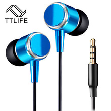 Original TTLIFE 3.5mm Jack Metal Earphone High Quality Metallic Earbud For Cellphone MP3 MP4 Player