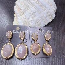 24K Gold Plated Natural pink Solar Stone Dangle Earrings Pink earrings Woman Earring