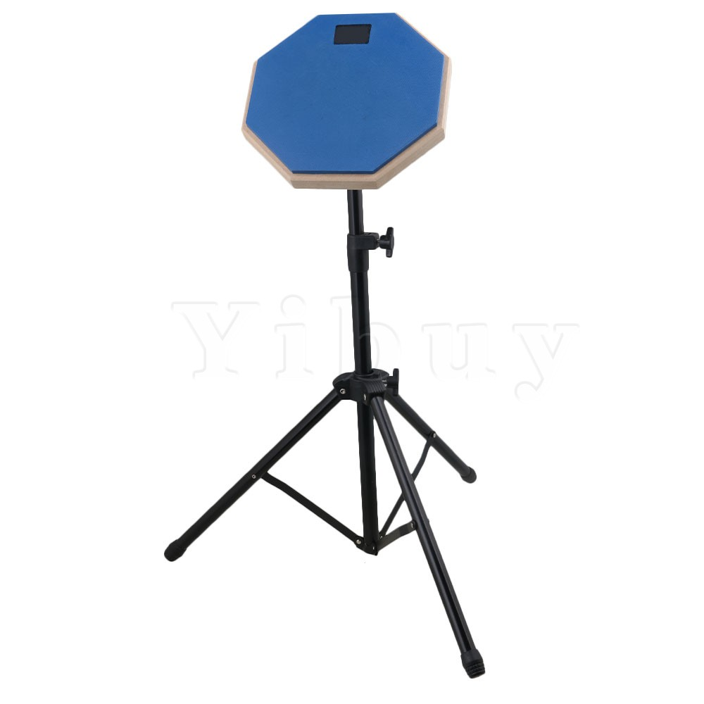 Yibuy 8inch Size Blue Rubber Wooden Base Stand Adjustable Silent Drum Practice Pad Set for Beginner Drumming single sided blue ccs foam pad by presta