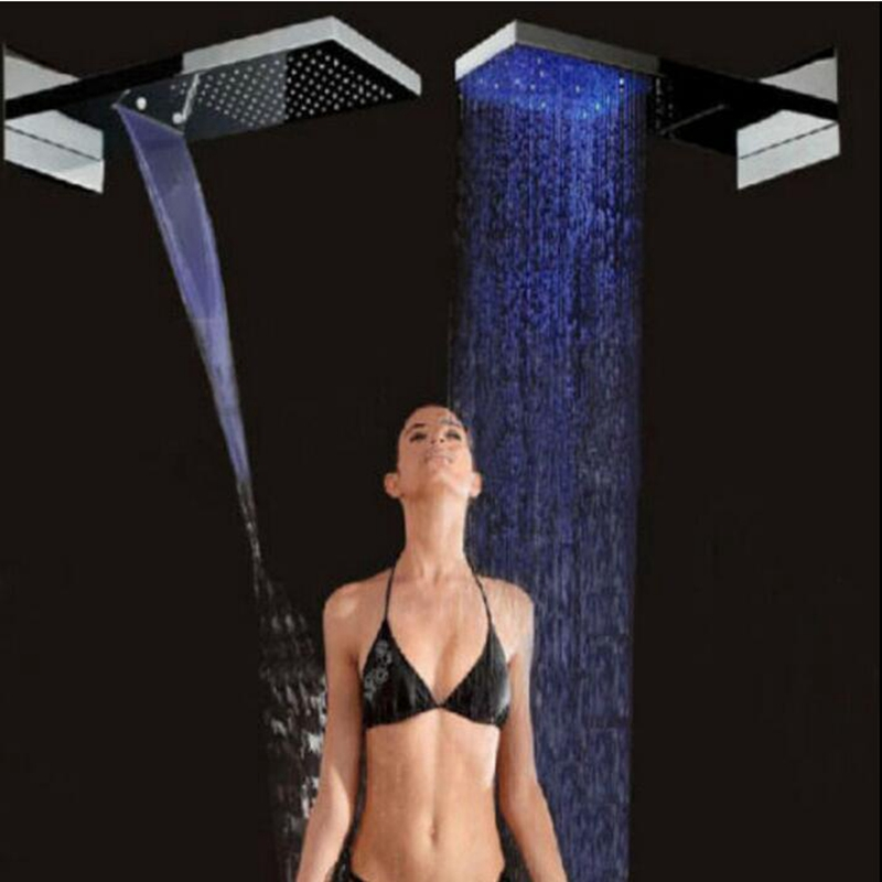 LED Color Changing Square Rain Waterfall Shower Head Wall Mount Top Spray Shower цена