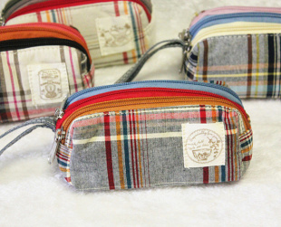 Coin purse fluid zipper plaid fabric cell phone pocket long design multicolour zipper key wallet