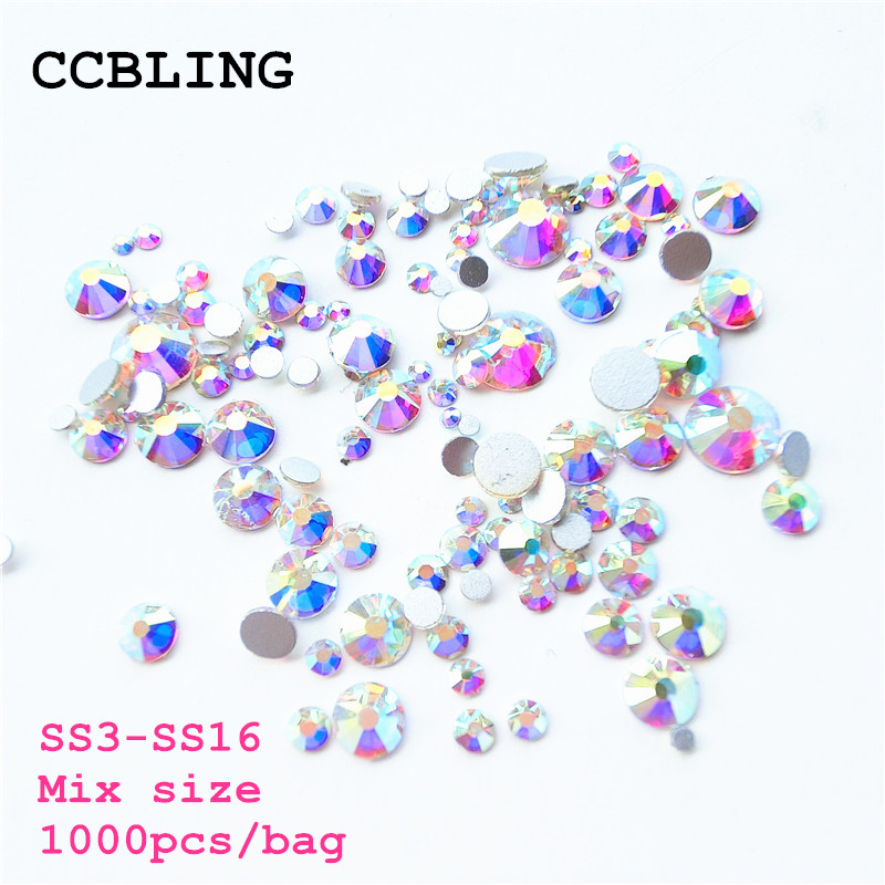 Mix Sizes 1000PCS/Pack Crystal Clear AB Non Hotfix Flatback Rhinestones Nail Rhinestoens For Nails 3D Nail Art Decoration Gems mix ss3 ss30 crystal ab and clear shinning designs non hotfix flatback nail rhinestones 3d nail art decorations glitter gems