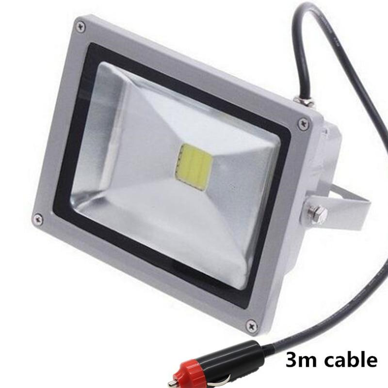 DC 12V LED Flood lamp 20W IP65 LED Flood Light Cigarette lighter plug car maintenance lights 3m cable
