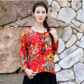Women Floral Print Red Green Color Casual Vintage Tees Cotton Linen O Neck Long Sleeve Plus Size T Shirts Loose Women Tops